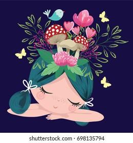 Cute girl portraits flowers and mushroom drawing.