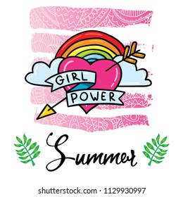 Cute girl power feminism symbol sticker design illustration with lgbt rainbow. Print design for t-shirt, poster and card.