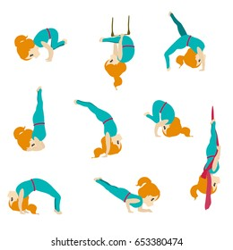 Cute girl practicing fitness poses. Set of acrobatic emoji on isolated background.