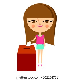 Cute girl putting her ballot into the vote box (vector version)