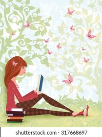 Cute girl is reading a book under tree with the stack of books. spring forest with butterflies
