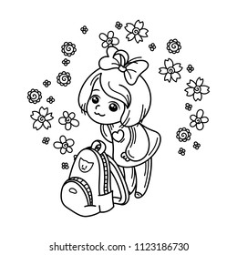 Cute girl ready to School. Vector illustration for books, prints, posters, cards. Coloring page