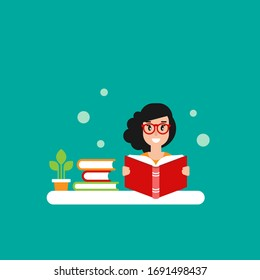 cute girl with red book . creative student or teacher. study or education flat vector illustration on blue background. Reading and learning. Distant learning, home office