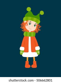 Cute girl with red hair wearing a hat, coat and boots on a dark background