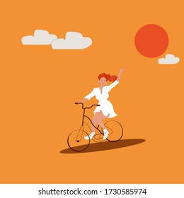 cute girl riding cycle with happy smile and joy
