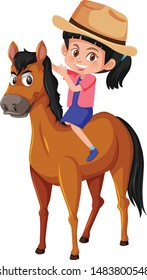 Cute girl Riding horse cartoon vector and illustration