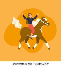 Cute girl riding a horse. Cartoon Vector illustration