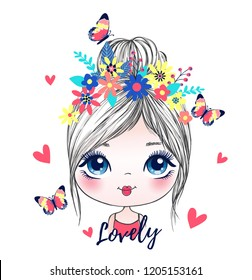 cute girl romantic butterfly vector illustration graphic design