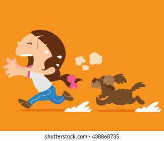 Cute girl running away from angry dog. Dogs chases to bite