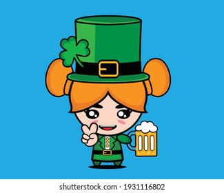Cute girl with saint patrick's day costume and beer.