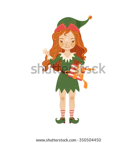 764fa03ffba Cute girl Santa elf in green costume give a gift isolated on a white  background. Vector illustration. - Vector