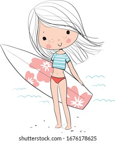 Cute girl at the sea with surfing.