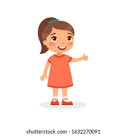 Cute girl showing thumbs up gesture color flat vector illustration. Happy little kid in red dress and dark hair ponytail. Smiling toddler, preteen child cartoon character isolated on white background