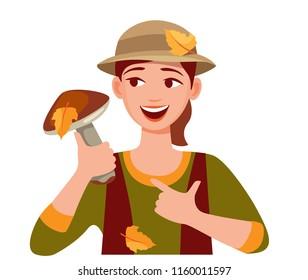 cute girl shows big mushroom. mushroomer. woman gathers mushrooms. Cartoon vector illustration