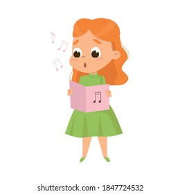 Cute Girl Singing with Open Music Book Vector Illustration