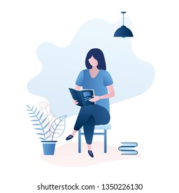 Cute girl sitting on chair and read book or magazine,female character learning,stack of books,trendy style vector illustration