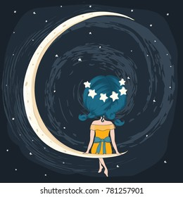 cute girl sitting romantic on the moon.t-shirt print,book illustrations for children,Love cards, wedding invitation,Princess girl,Young, beautiful, cute, sweet girl in a charming dress,cute child
