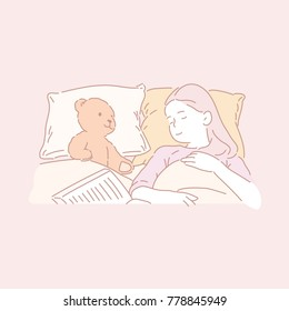 cute girl sleeping with teddy bear in bed hand drawn style vector doodle design illustrations.
