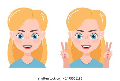 Cute girl smiles with braces on her teeth and after without them. Cartoon character. Vector illustration.