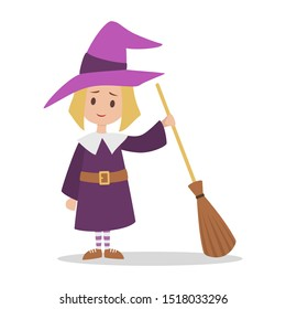 Cute girl standing in halloween witch costume. Little kid in a black hat. Fantasy character. Isolated flat illustration