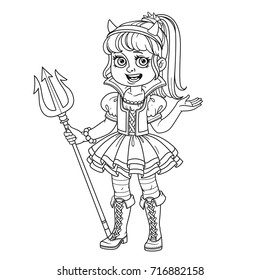 Cute girl in succubus costume outlined for coloring page