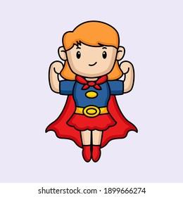 Cute girl in super hero costume