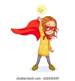 Cute girl in Super hero costume stands with her hand outstretched, trying to get the star. Vector cartoon kid character in a red mask and developing the wind cloak, isolated on white background.