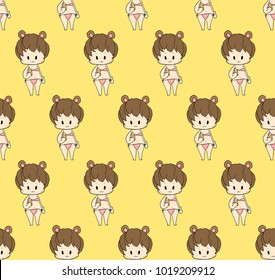 Cute Girl in Swimsuit - Baby on Yellow Background. Vector Illustration.