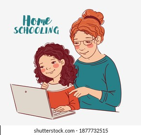 Cute girl with teacher looking at laptop in the classroom. Mother teaching her daughter to learn from online class using laptop for homeschooling and education concept