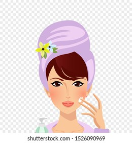 Cute girl in towel turban put cream on face from pump bottle isolated on transparent background. Beautiful young woman applying moisturiser for face in spa Cartoon flat vector illustration, clip art