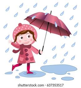 cute girl with umbrella enjoys the rain