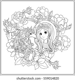 Cute Girl Unicorn Roses Garden Outline Stock Vector Royalty Free