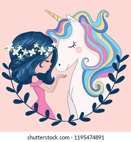 Cute girl with unicorn vector illustration for kids, prints, greeting cards, textile artworks, t shirts.