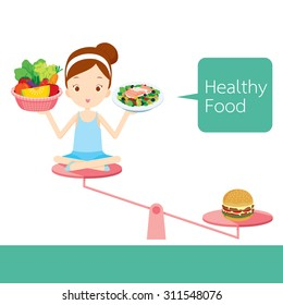 Cute Girl With Useful And Useless Foods Balancing On Scale, Organic, Nutrition, Medicine, Mental And Physical Health