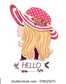 Cute girl vector design.Book illustrations for children.Romantic hand drawing poster.Cartoon character.Hello slogan.