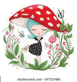 Cute girl vector design.Children illustration for School books and more.