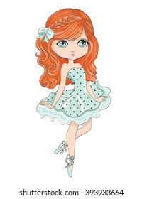 Cute girl vector design.Romantic hand drawing poster.Cartoon character.Pretty graphic.Dancing child.