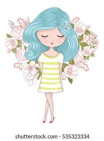 cute girl vector design.Template for design cards, notebook, shop, poster.