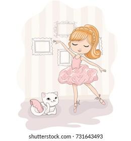 Cute girl vector design.T-shirt print.Book illustrations for children