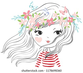Cute girl vector illustration.Cartoon character graphic design.Girlish children drawing.