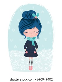 Cute girl vector winter theme.