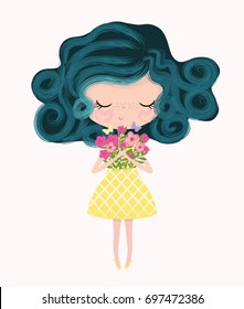 cute girl vector.Children illustration for School books and more. Separate Objects.T-shirt graphic.cartoon girl.Girl blowing butterflies.fashion girl.For apparel or other uses,in vector.Princess print