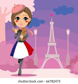 Cute girl walking with a bag of bread and eating croissant in Paris