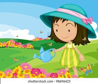 cute girl watering garden