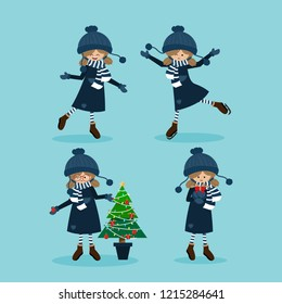 Cute girl in winter custom with Christmas elements collection. Merry Christmas greeting cards vector design.