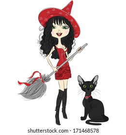 Cute Girl witch in red hat and dress with black cat