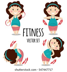 Cute girl work out different fitness exercises. Healthy lifestyle. Cartoon vector set.