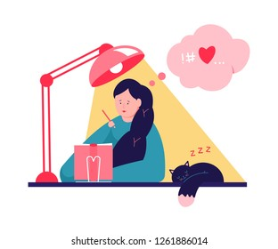 Cute girl writing in journal or diary. Vector cartoon illustration with woman at the table and sleeping cat.