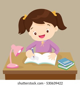Cute girl writing and thinking be happy. Vector illustration of a little girl writing at his desk.