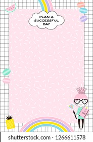 Cute Girlish Daily Planner template with little pricess, rainbow, sweets on memphis background. Cute office stationery.